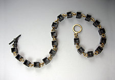 Multi-Box Oxidized Bracelet by Hilary Hachey (Gold & Silver Bracelet)