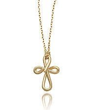 Cross Doodle Pendant by Dana Melnick (Gold Necklace)