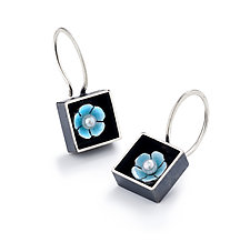 Black Box Square Earrings by Giselle Kolb (Silver & Pearl Earrings)