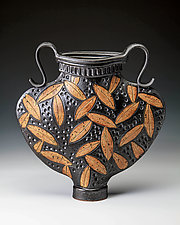 Greek Urn with Colored Leaf Carving by Jim and Shirl Parmentier (Ceramic Vessel)