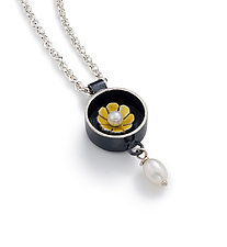 Black Box Round Necklace by Giselle Kolb (Silver & Pearl Necklace)