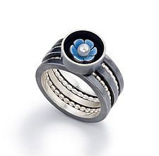 Black Box Stackable Ring Set by Giselle Kolb (Silver & Pearl Rings)