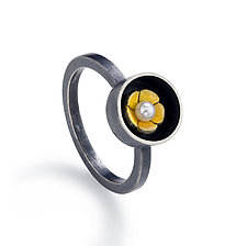 Black Box Round Ring by Giselle Kolb (Silver & Pearl Ring)