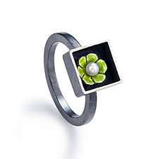 Black Box Square Ring by Giselle Kolb (Silver & Pearl Ring)