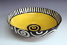 Yellow Bullseye Round Bowl by Matthew A. Yanchuk (Ceramic Bowl)