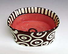 Orange Red Oval Bowl by Matthew A. Yanchuk (Ceramic Bowl)