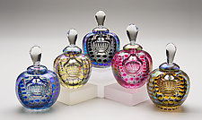 Faceted Round, Colored Exterior by Thomas Philabaum (Art Glass Perfume Bottle)