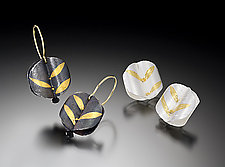 Alternate Leaf Earrings by Christine Mackellar (Gold & Silver Earrings)