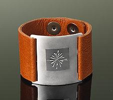 Starburst Wrist Wrap by Karen Klinefelter (Silver & Leather Bracelet)