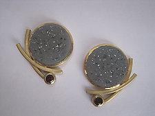 Drusy and Garnet Earrings by Ilene Schwartz (Gold & Stone Earrings)