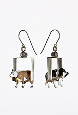 Cows in Squares Earrings by Kristin Lora (Metal Earrings)