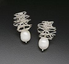 Wrap Earrings with Baroque Pearl by Randi Chervitz (Silver & Pearl Earrings)