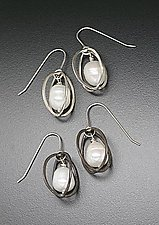 Hammered Egg with Baroque Pearl by Randi Chervitz (Silver & Pearl Earrings)