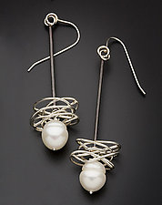 Pearl in a Nest Earrings by Randi Chervitz (Silver & Pearl Earrings)