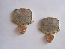 Coral and Drusy Earrings by Ilene Schwartz (Gold & Stone Earrings)