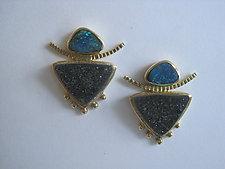 Boulder Opal and Drusy Earrings by Ilene Schwartz (Gold & Stone Earrings)