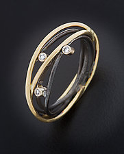 Wrap Ring with Three Diamonds by Randi Chervitz (Gold, Silver & Stone Ring)