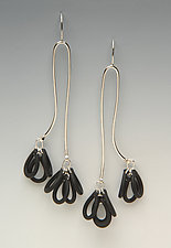 Pom Pom Earrings by Lonna Keller (Silver & Neoprene Earrings)