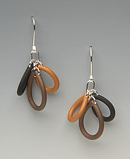 Triple Loop by Lonna Keller (Silver & Neoprene Earrings)