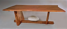 River Rock Java Table by Richard Laufer (Wood & Stone Table)