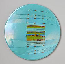 Aqua Window Round by Lynn Latimer (Art Glass Wall Art)