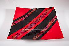 Red Holiday Platter by Varda Avnisan (Art Glass Platter)