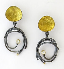 Pebble Scribble Earrings by Sydney Lynch (Gold, Silver & Stone Earrings)