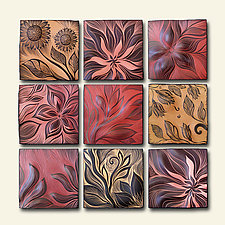 "Warm-Toned Botanical Tiles 12""x12"" by Natalie Blake (Ceramic Wall Sculpture)"