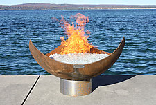 King Isosceles Sculptural Firebowl by John T. Unger (Metal Fire Pit)