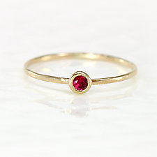 Ruby Stacking Ring in 14K Yellow Gold by Melanie Casey (Gold & Stone Ring)