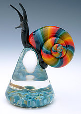 Multicolored Snail by Eric Bailey (Art Glass Paperweight)