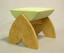 Trellis Ottoman by Priscilla Cypiot (Wood Upholstered Ottoman)