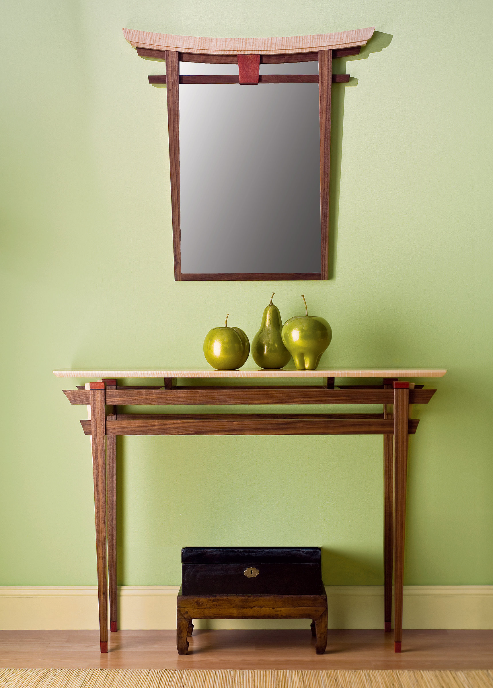 Torii mirror and table by bayley wharton wood furniture for Japanese furniture