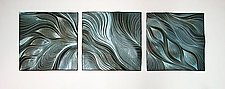Abstract Ceramic Wall Tiles in Robin's Egg by Natalie Blake (Ceramic Wall Sculpture)