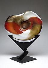 Wave Bowl: Red, Dark Topaz, & Bone with Uplift Stand by Janet Nicholson and Rick Nicholson (Art Glass Bowl)
