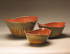 Three Bowl Set by Mike Walsh (Ceramic Bowls)