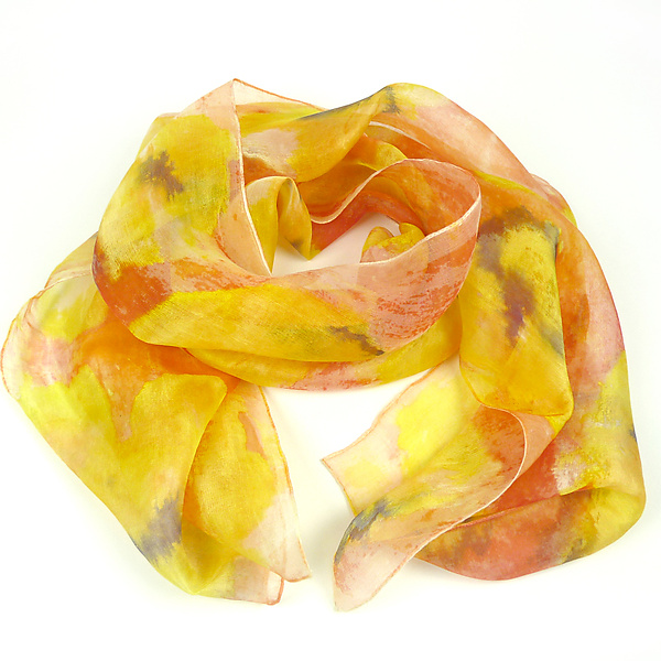 Floral Organza Scarf in Orange Pansy