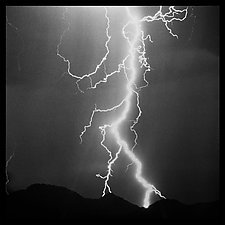 Lightning Wall Panel by Jenny Lynn (Black & White Photograph)