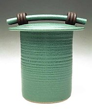Green Storage Jar by Jan Schachter (Ceramic Jar)