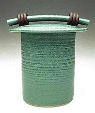 Green Storage Jar by Jan Schachter (Ceramic Jar)