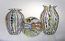Clear & Cane Vase by Robert Dane (Art Glass Vase)