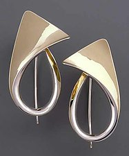Flared Earrings by Nancy Linkin (Silver & Gold Earrings)
