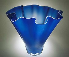 Shell Bowl Form (Lapis Blue) by Jonathan Winfisky (Art Glass Vessel)