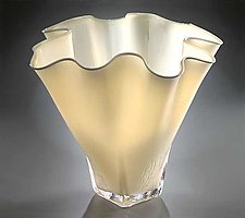 Shell Bowl Form (Opaque Ivory) by Jonathan Winfisky (Art Glass Vessel)