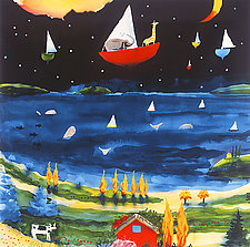 Boat from Zambesi over the Skarslyorn Fjord by Mike Smith (Giclee Print)