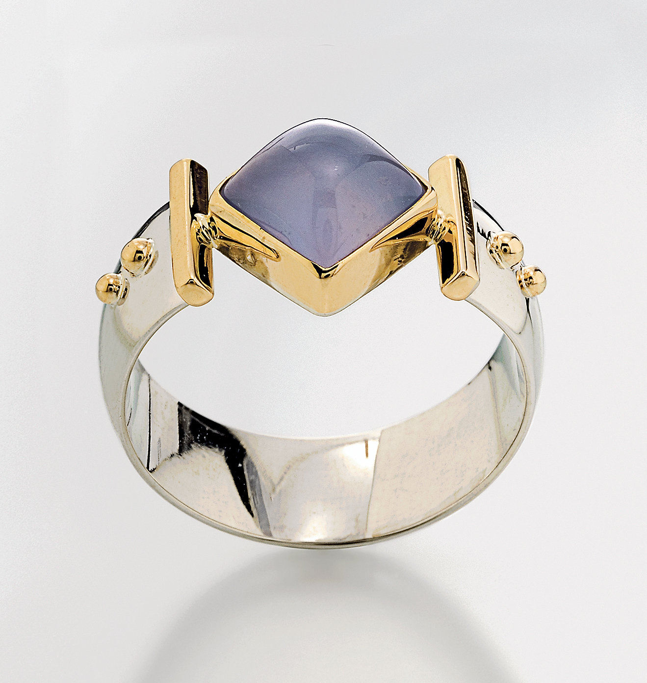 Diagonal Square Ring by Linda Smith (Silver, Stone and Gold Ring ...