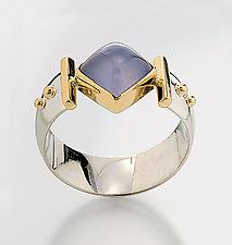 Diagonal Square Ring by Linda Smith (Silver, Stone and Gold Ring)