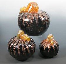 Midnight Pumpkin by Mark Rosenbaum (Art Glass Sculpture)