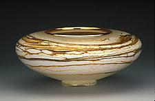 Ivory Strata Bowl by Danielle Blade and Stephen Gartner (Art Glass Vessel)