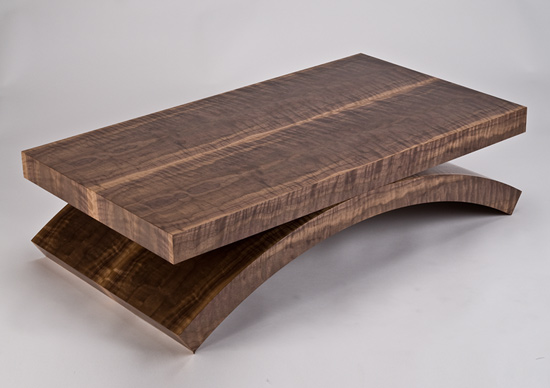 Large Black Walnut Rectilinear Coffee Table